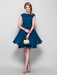 Knee-length Chiffon Bridesmaid Dress - Ink Blue Plus Sizes / Petite A-line / Princess Jewel