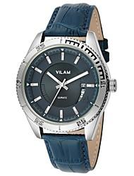 vilam® v2005g Mode für Männer runde Zifferblatt Silbergehäuse Lederband Sport analoge Quarzuhr (farblich sortiert)