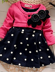 Girl's Flower Dot LovelyFalse Two Pieces Spring and Autumn Kids Clothes Dresses
