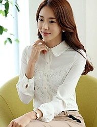 Women's Formal Simple Spring / Fall Shirt,Solid Shirt Collar Long Sleeve White / Black Polyester Thin