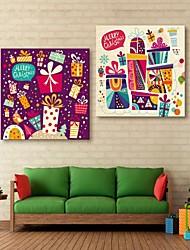 E-Home® Leinwandkunst bunte Geschenk glücklich Weihnachtsdekoration Malerei Satz 2