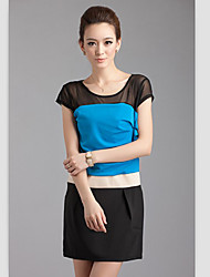 High Quality Color Block Splicing Round Collar Dress Sapphire Blue