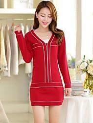 Women's V Neck Streak Pullover Clothing Sets(Sweater & Skirt)