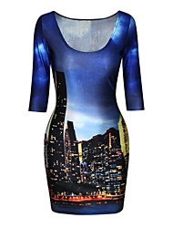 pinkqueen® kvinnors polyester staden sky print halv ärm klänning