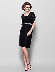 Lanting Sheath/Column Plus Sizes / Petite Mother of the Bride Dress - Black Knee-length Short Sleeve Chiffon