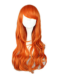 Pelucas de Cosplay One Piece Nami Naranja Mediano Animé Pelucas de Cosplay 65 CM Fibra resistente al calor Mujer