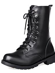 Черный - Женская обувь - Для праздника - Искусственная кожа - На толстом каблуке - Военные ботинки / С круглым носком - Ботинки