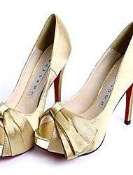 Women's Spring / Summer / Fall Heels / Peep Toe / Platform Satin Office & Career / Dress / Party & Evening Stiletto HeelBowknot / Satin