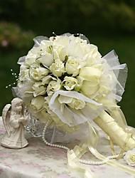 """Bouquets de Noiva Redondo Rosas Buquês Casamento Festa / noite Seda 7.87""""(Aprox.20cm)"""
