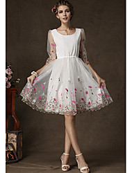 METOO Women's Jacquard White Dresses , Vintage / Sexy / Party Round Long Sleeve