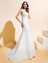 Lanting Bride Lanting A-line/Princess Wedding Dress - Ivory Sweep/Brush Train Strapless Tulle