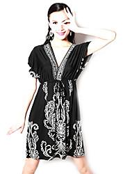 vestito dall'annata accoppiamento libero delle donne profondo scollo a V