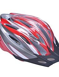 moda unisex y de alta transpirabilidad pc + epp casco de bicicleta con visera desmontable (19 tiros) - + gris rojo