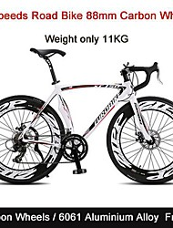 "14 Speeds Carbon Wheels Road Bike Eurobike™ 52""inch Cycling Double Disc Brake 88mm*23cm Width Tire only 11kg"