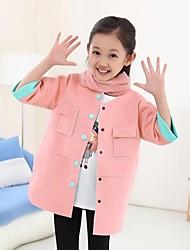 Mädchen Trenchcoat einfarbig Baumwollmischung Winter / Herbst Grün / Rosa / Lila / Gelb