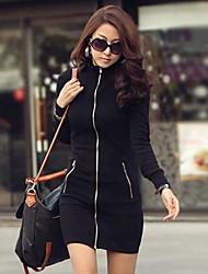 Yuwinne Women's Zipper Slim Solid Color Dress