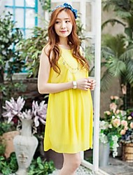 Maternity and Pregnant Women Sleeveless Pleated Chiffon Dress