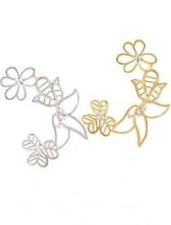 z&X® flor estilo coreano U brincos clipe cuff (1 pc, 2 opções de cores: dourado, prata)