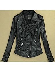 de manga larga chaqueta de descubierta de la PU de las mujeres de la chaqueta de cuero de imitación