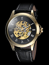 FORSINING Men's Roman Number Hollow Dial Gold Case Leather Band Automatic Self Wind Dress Watch