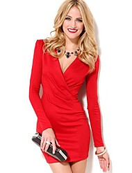 Women's Longsleeve V Neck Dress