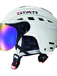 estrela branca abs ski / snowboard capacete unisex com óculos de neve (m para 48-56cm, l para 56-62cm)
