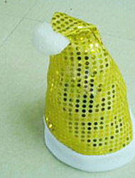 Sequin Embellished Christmas Cap Yellow