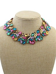 Women's Luxurious Beaded Leaves Layer Bib Statement Necklace