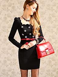 Women's Dresses , Polyester/Spandex Long Sleeve DABUWAWA