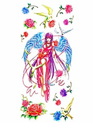 1pc Lovely Fairy Angle Waterproof Body Art Tattoo Pattern Temporary Tattoos Sticker(18.5cm*8.5cm)