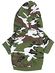 Dog Hoodie Green Dog Clothes Summer Spring/Fall Camouflage Fashion
