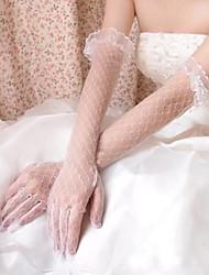 tule pontas dos dedos do comprimento da ópera luvas de noiva com rendas