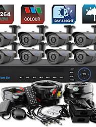 yanse® 8ch d1 dvr kit ir kleuren waterdichte camera beveiligingscamera's systeem cctv 713cc08