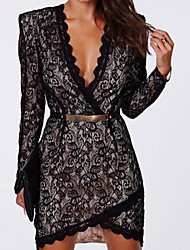 Women's Black Eyelash Lace Wrap over Mini Sexy Dress
