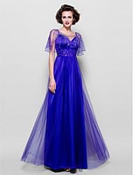 Lanting Bride A-line Plus Size / Petite Mother of the Bride Dress - See Through Floor-length Short Sleeve Tulle withBeading / Crystal