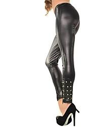 Women's Fashion Foot Mouth orange Leather Leggings