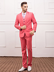 Suits Slim Fit Slim Notch Single Breasted One-button 3 Pieces Watermelon Straight Flapped