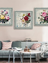 Abstract / Floral/Botanical Framed Canvas / Framed Set Wall Art,PVC Grey No Mat With Frame Wall Art