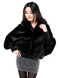 Fur Jacket 3/4 Sleeve Shawl Faux Mink Rabbit Fur Special Occasion/Casual Coat