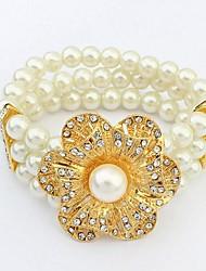 European Style Fashion Pastoral Style Flower Pearl Elastic Bracelet