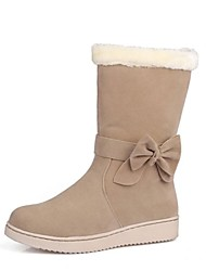 Women's Shoes Snow Boots Round Toe Flat Heel  Suede  Mid-Calf Boots with Bowknot   More Colors available
