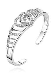 womans fiesta de la moda corazón brilla la apertura pulsera de plata 925