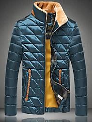 rebites xadrez casuais zíper gola de pele casaco comprido de mangas