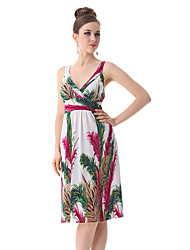 Ever-Pretty Women's Sexy V-neck Printed High Stretch Empire Line Cocktail Dress
