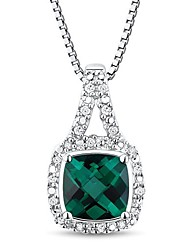 Women's Classic Sterling Silver with Created Emerald Diamond Necklace