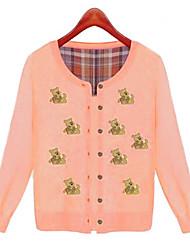 Women's Pink Cardigan , Casual/Cute Long Sleeve