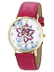 mulheres de couro Tomono padrão de flor pu vestir relógio (fúcsia)