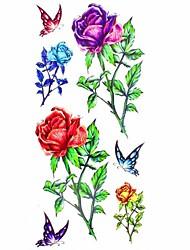 1pc Lovely Butterfly and Flower Waterproof Body Art Tattoo Pattern Temporary Tattoo Sticker(18.5cm*8.5cm)