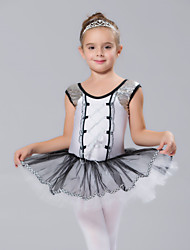 Kids' Dancewear Dresses Children's Spandex Tulle Sequins Short Sleeve