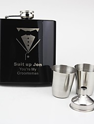 Personalized 4 Pieces Black Stainless Steel 6-oz Flask Gift Set Bow Tie